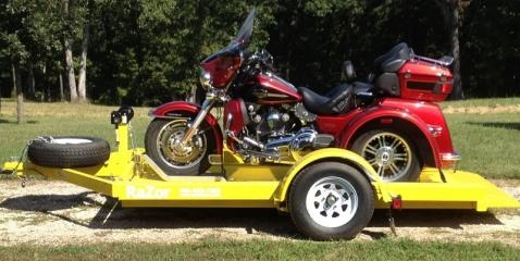 The Razor Motorcycle Trailer, ground loading motorcycle